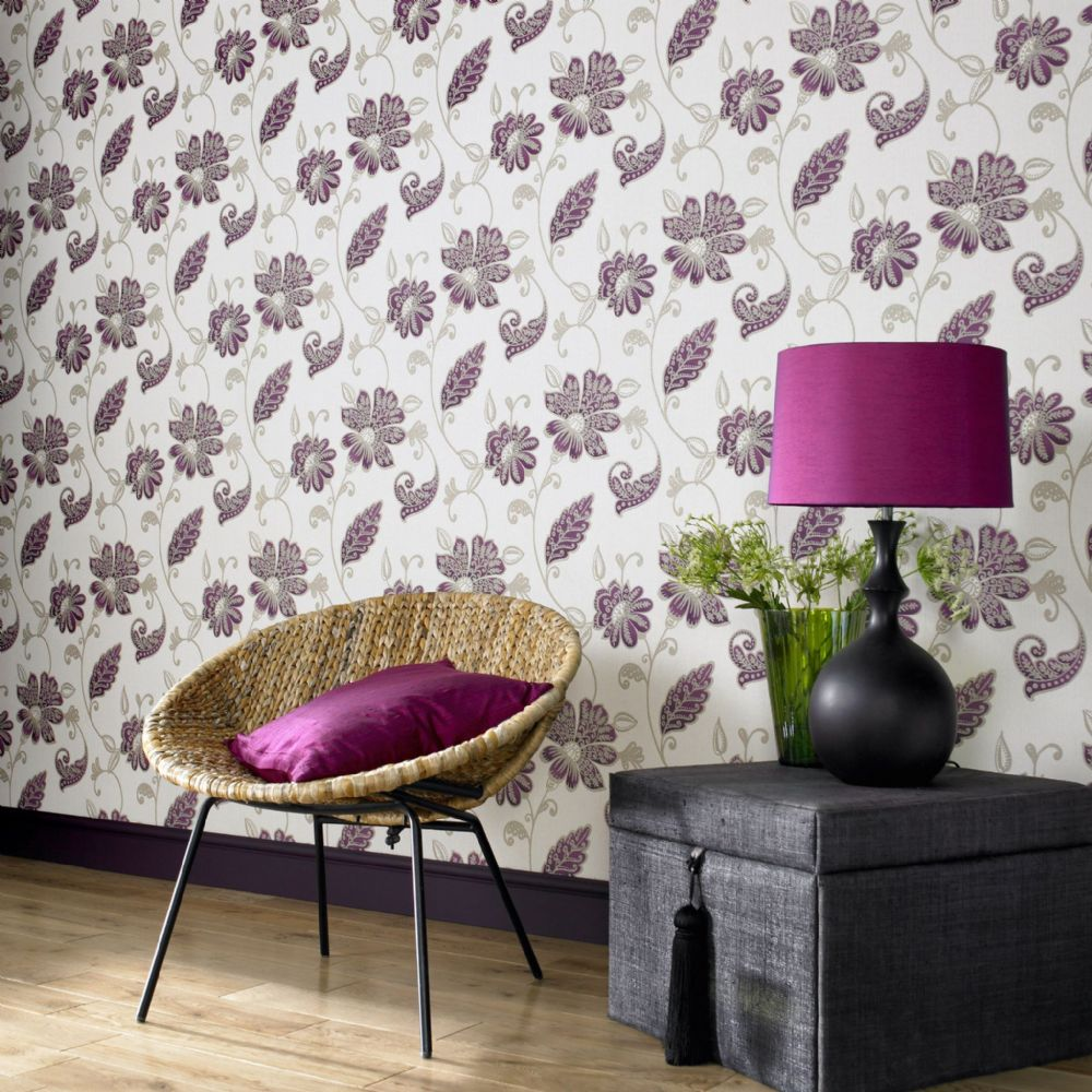 Graham and Brown Premier Juliet Plum 19598 Wallpaper